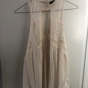 Flowy Cream Tank Top with Lace Design